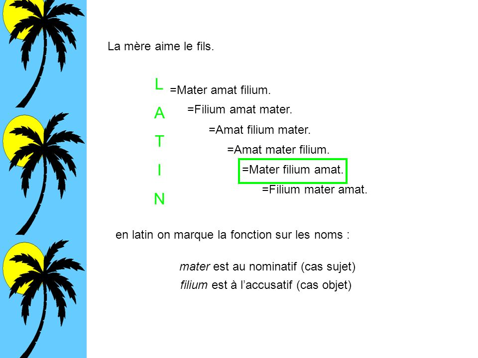 L A T I N La mère aime le fils. =Mater amat filium.