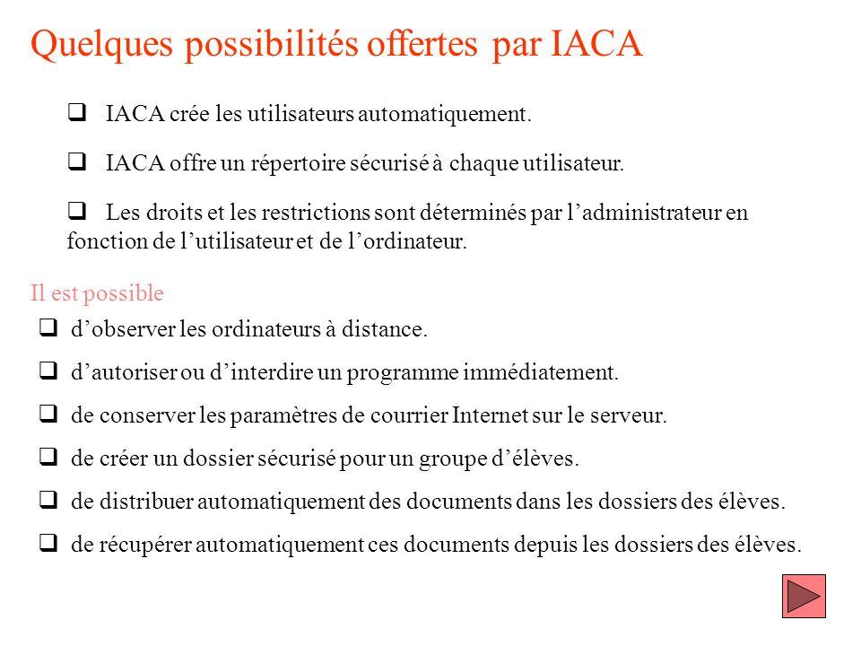 Quelques possibilités offertes par IACA