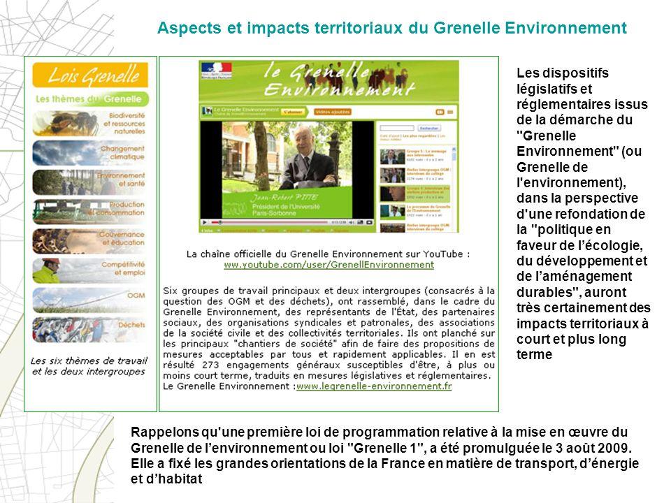Aspects et impacts territoriaux du Grenelle Environnement