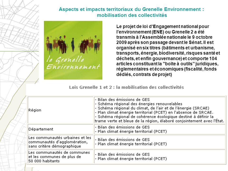 Aspects et impacts territoriaux du Grenelle Environnement : mobilisation des collectivités