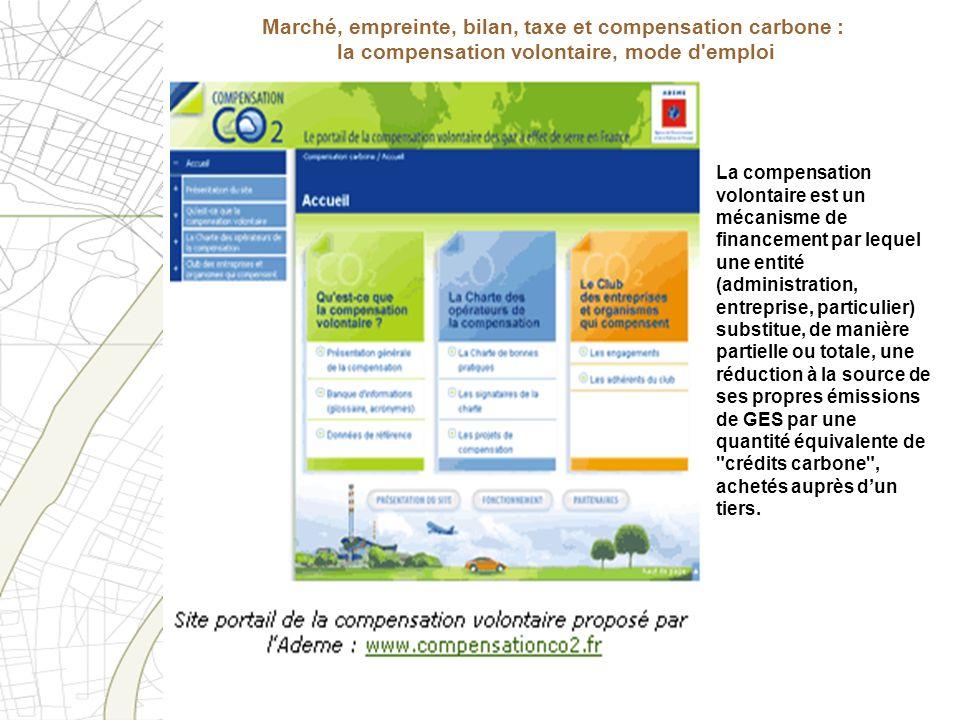Marché, empreinte, bilan, taxe et compensation carbone : la compensation volontaire, mode d emploi