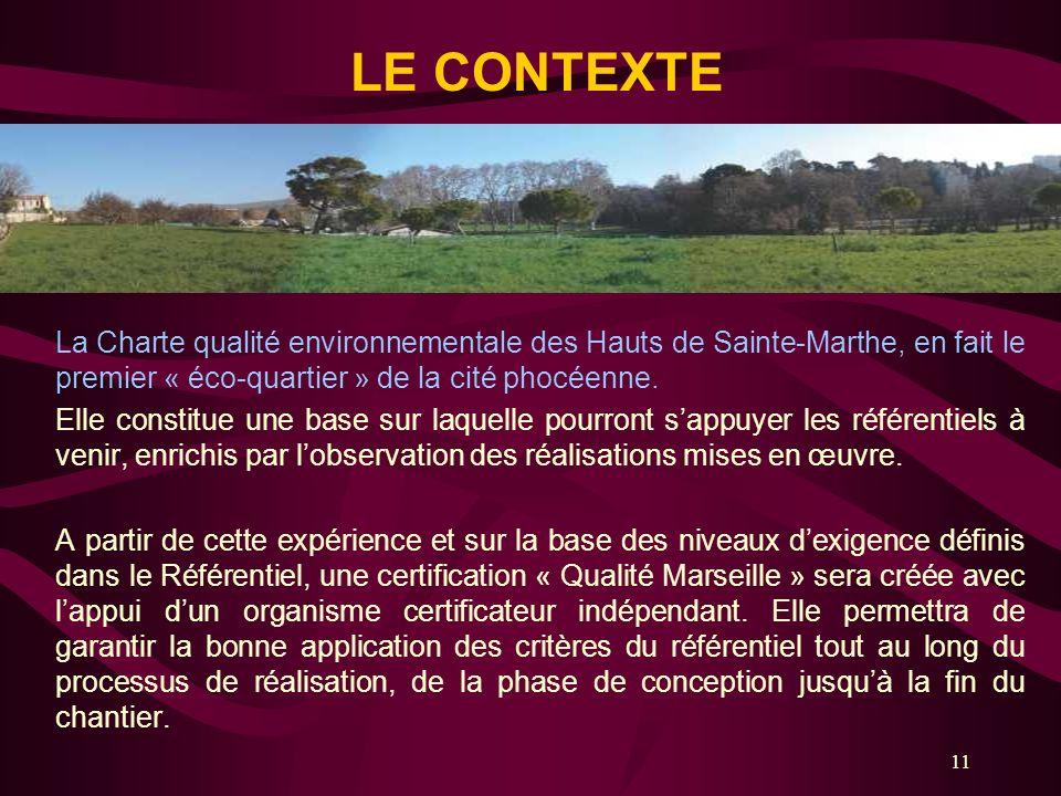 LE CONTEXTE La Charte qualité environnementale des Hauts de Sainte-Marthe, en fait le premier « éco-quartier » de la cité phocéenne.