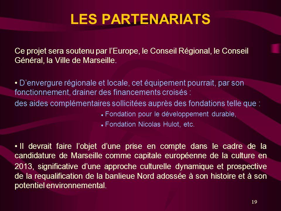 LES PARTENARIATS Ce projet sera soutenu par l'Europe, le Conseil Régional, le Conseil Général, la Ville de Marseille.