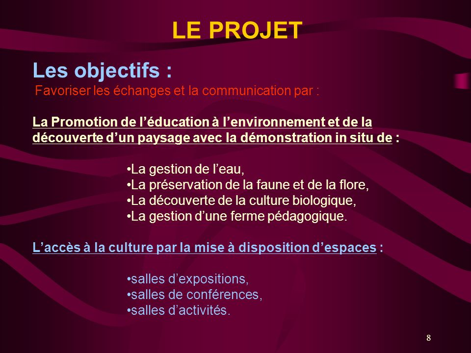 Les objectifs : LE PROJET