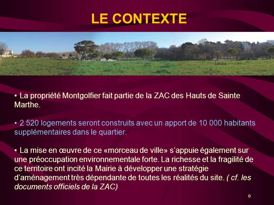 LE CONTEXTE La propriété Montgolfier fait partie de la ZAC des Hauts de Sainte Marthe.