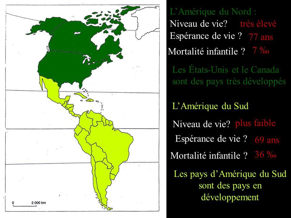 Les pays d'Amérique du Sud sont des pays en développement