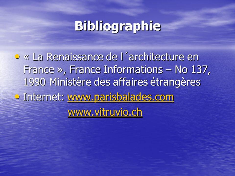 Bibliographie « La Renaissance de l´architecture en France », France Informations – No 137, 1990 Ministère des affaires étrangères.