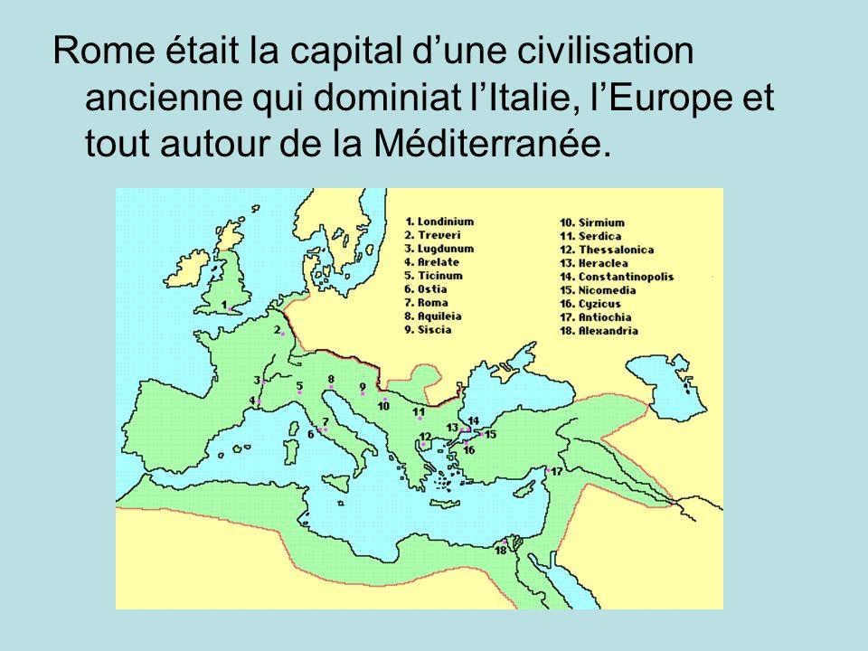 Rome était la capital d'une civilisation ancienne qui dominiat l'Italie, l'Europe et tout autour de la Méditerranée.