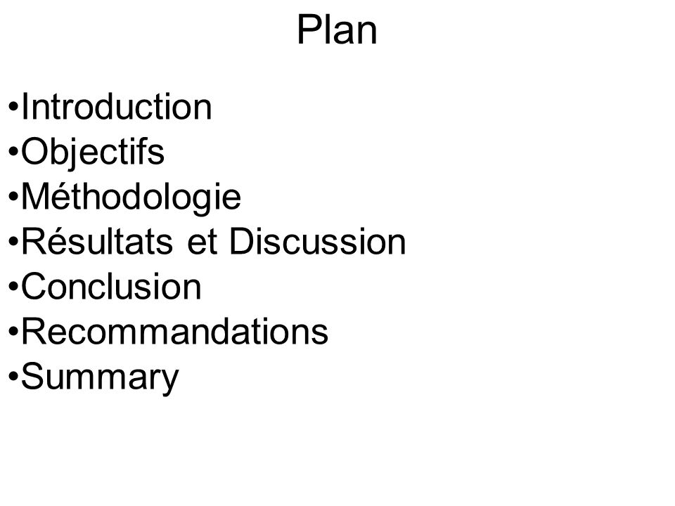 Plan Introduction Objectifs Méthodologie Résultats et Discussion