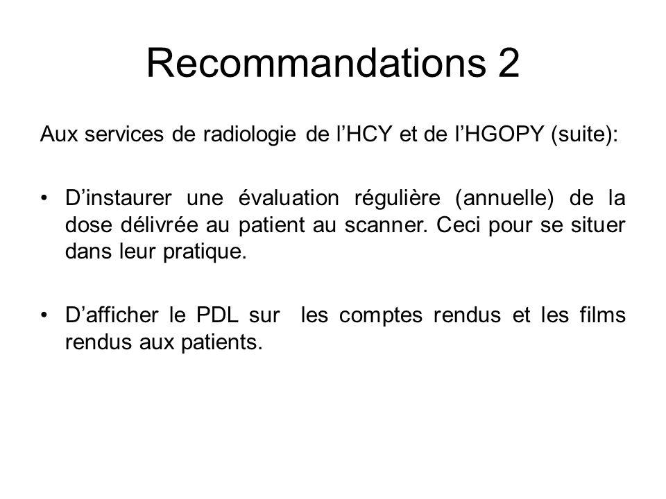 Recommandations 2 Aux services de radiologie de l'HCY et de l'HGOPY (suite):