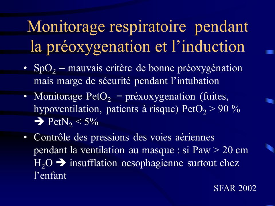 Monitorage respiratoire pendant la préoxygenation et l'induction