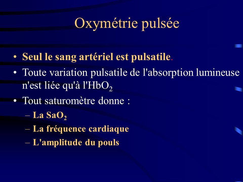 Oxymétrie pulsée Seul le sang artériel est pulsatile.