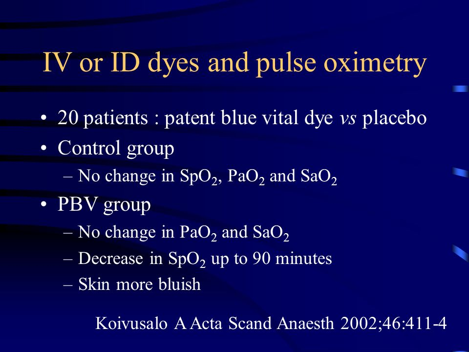 IV or ID dyes and pulse oximetry