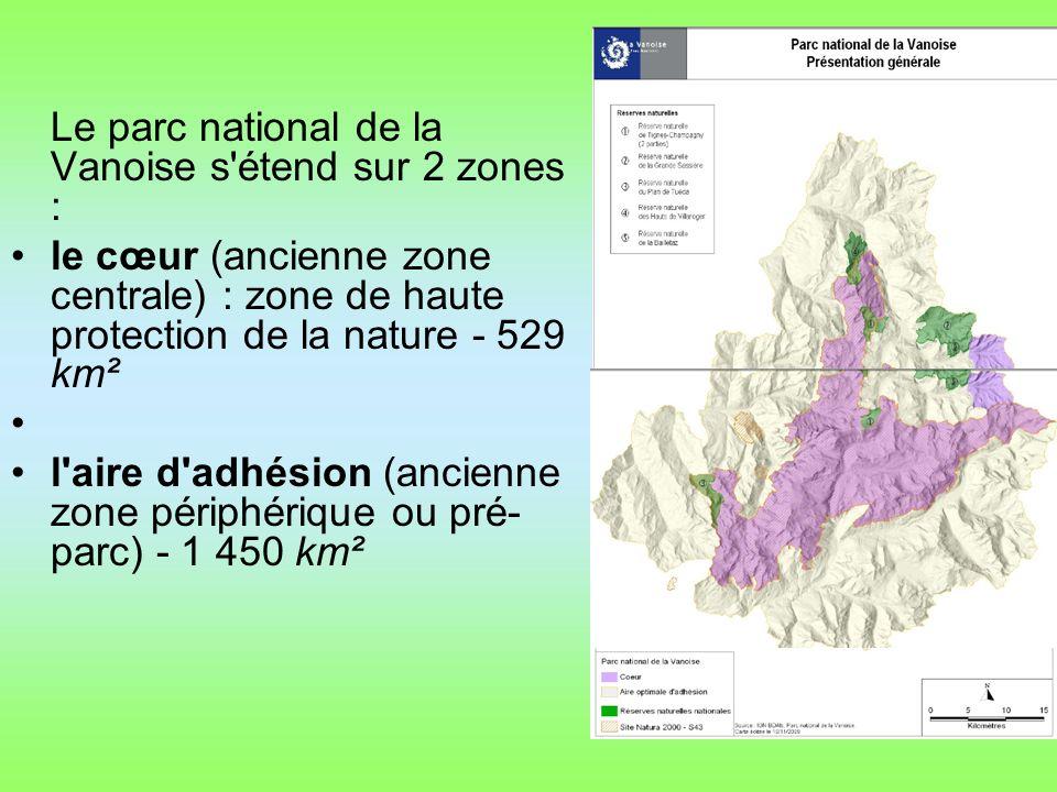 Le parc national de la Vanoise s étend sur 2 zones :