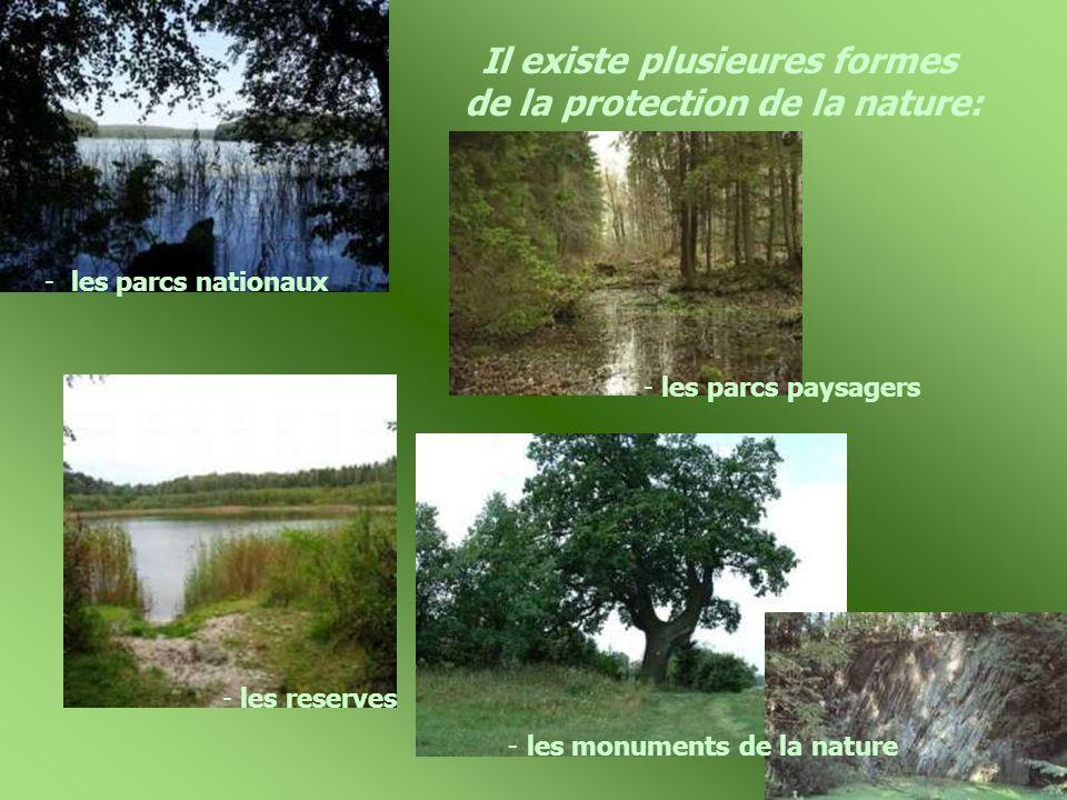 Il existe plusieures formes de la protection de la nature: