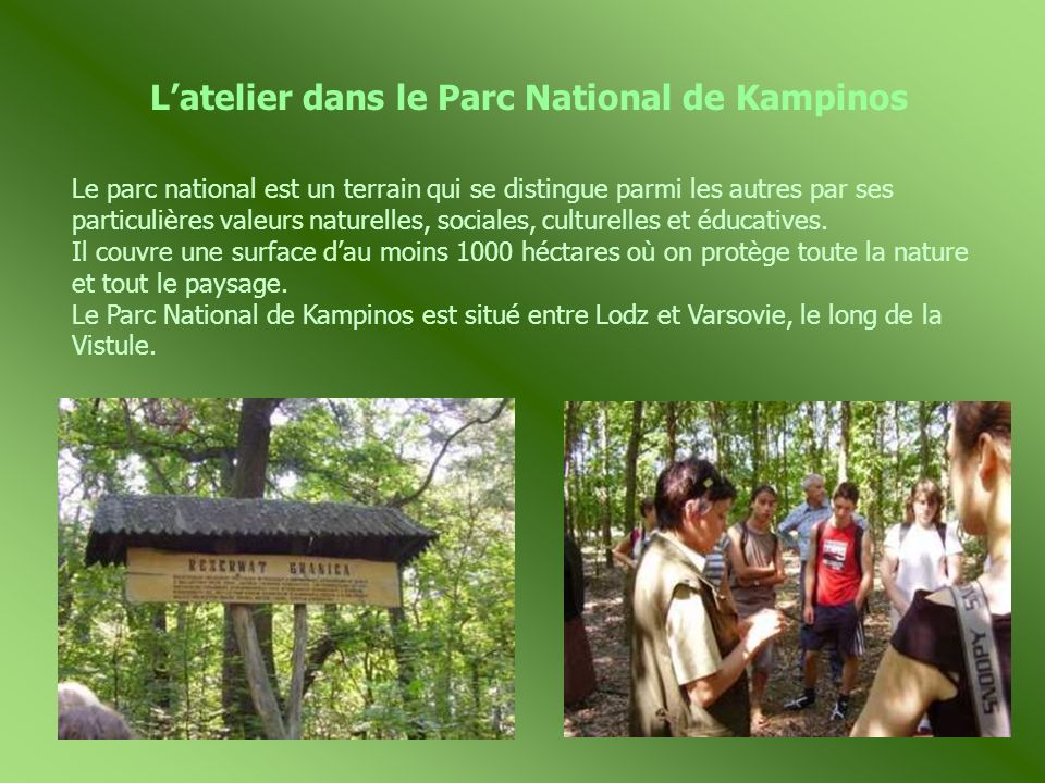 L'atelier dans le Parc National de Kampinos