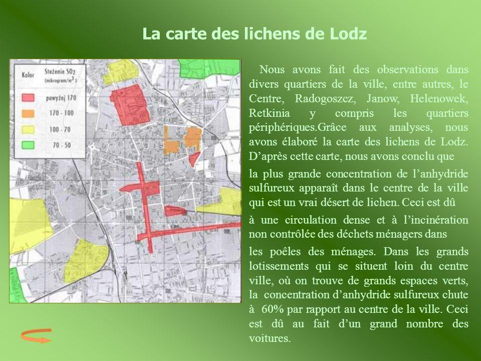 La carte des lichens de Lodz