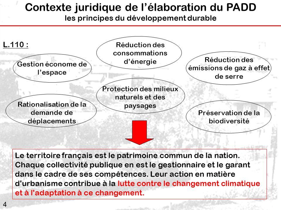 Contexte juridique de l'élaboration du PADD les principes du développement durable