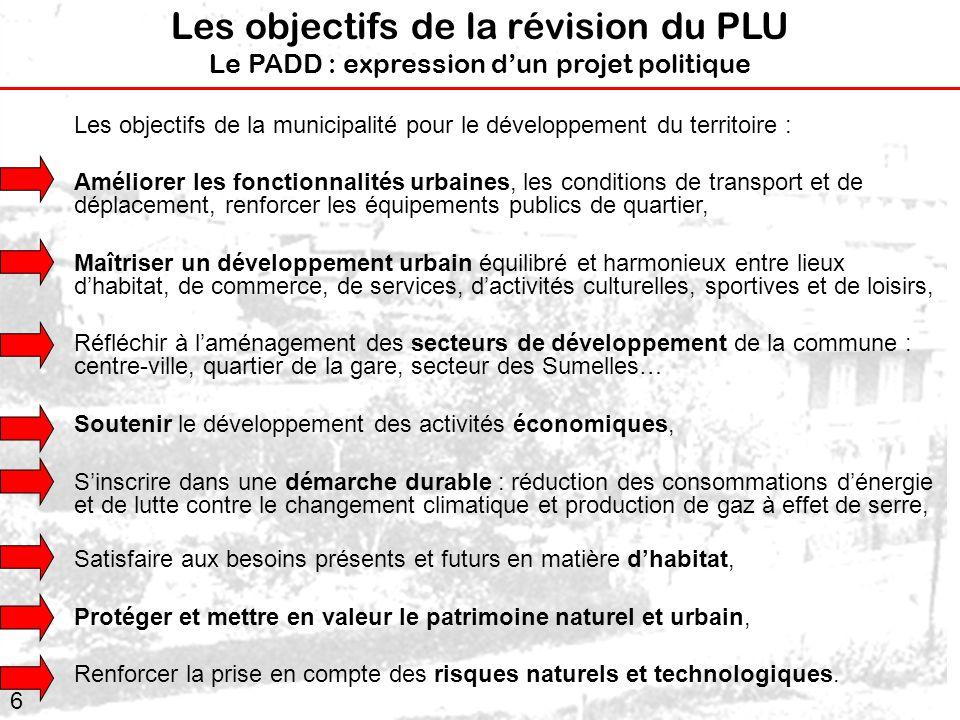 Les objectifs de la révision du PLU Le PADD : expression d'un projet politique
