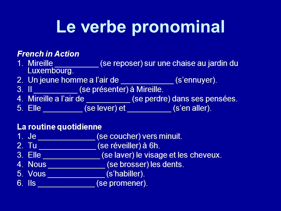 Le verbe pronominal French in Action