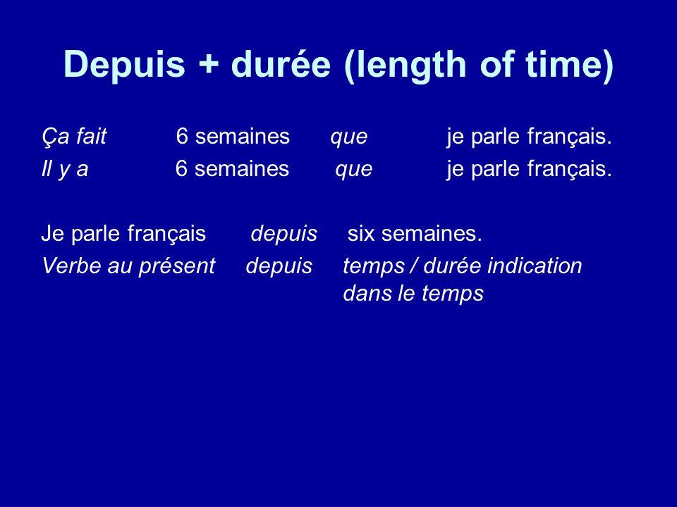 Depuis + durée (length of time)