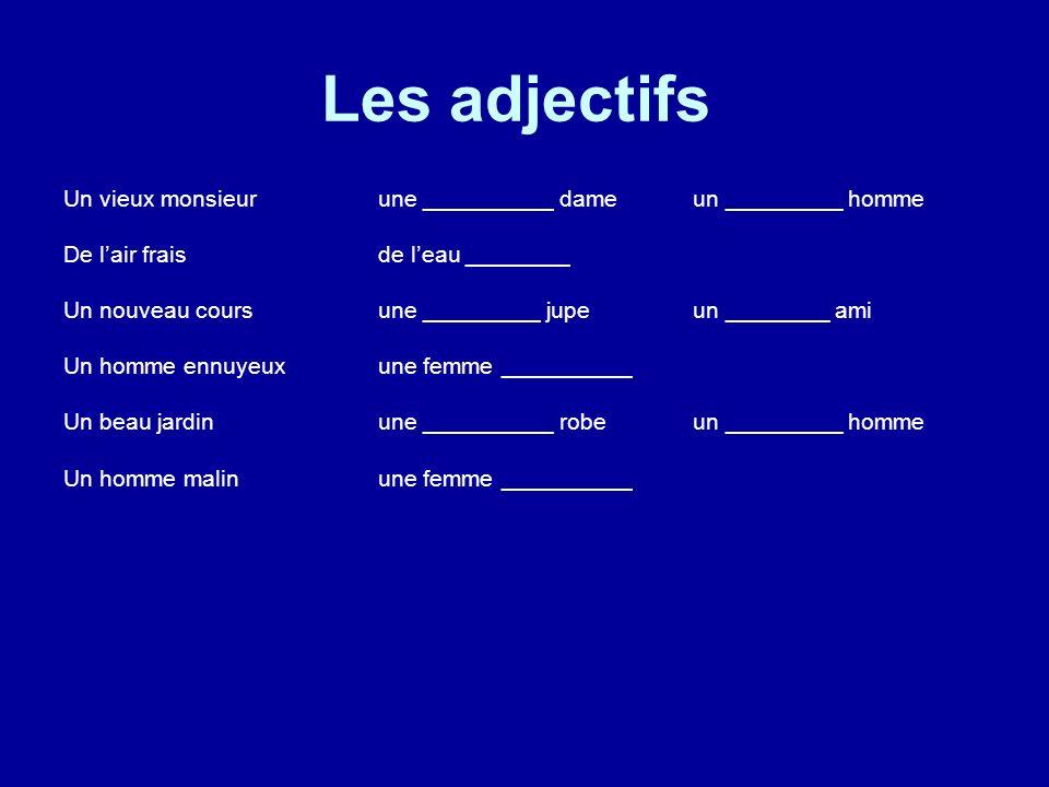 Les adjectifs Un vieux monsieur une __________ dame un _________ homme