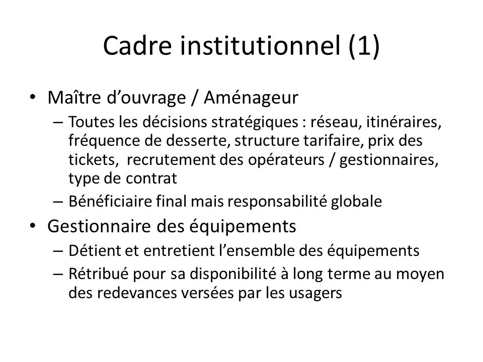Cadre institutionnel (1)