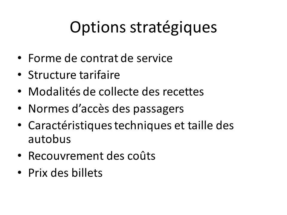 Options stratégiques Forme de contrat de service Structure tarifaire
