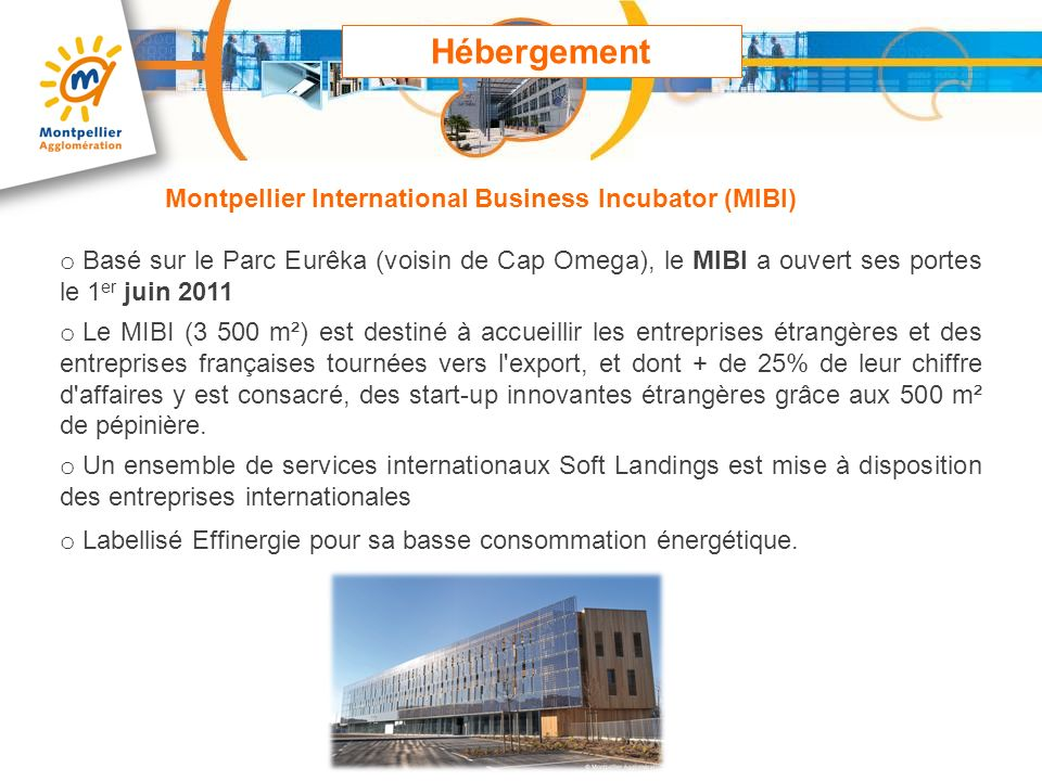 Hébergement Montpellier International Business Incubator (MIBI)
