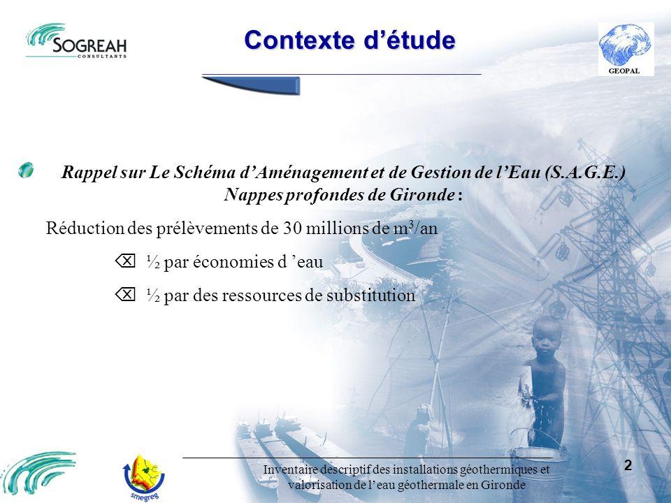 Contexte d'étude Rappel sur Le Schéma d'Aménagement et de Gestion de l'Eau (S.A.G.E.) Nappes profondes de Gironde :