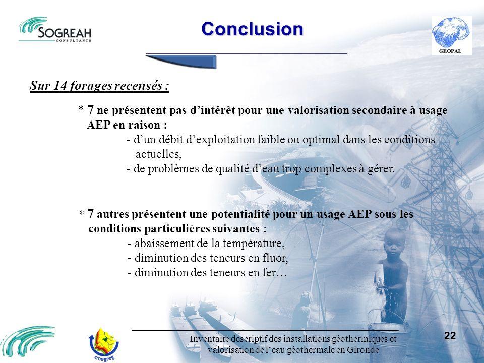 Conclusion Sur 14 forages recensés :