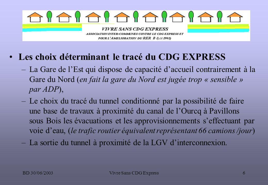 Les choix déterminant le tracé du CDG EXPRESS