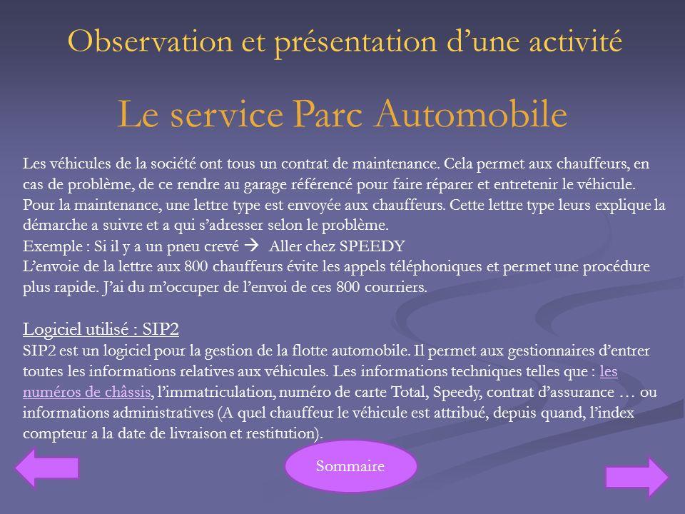 Le service Parc Automobile