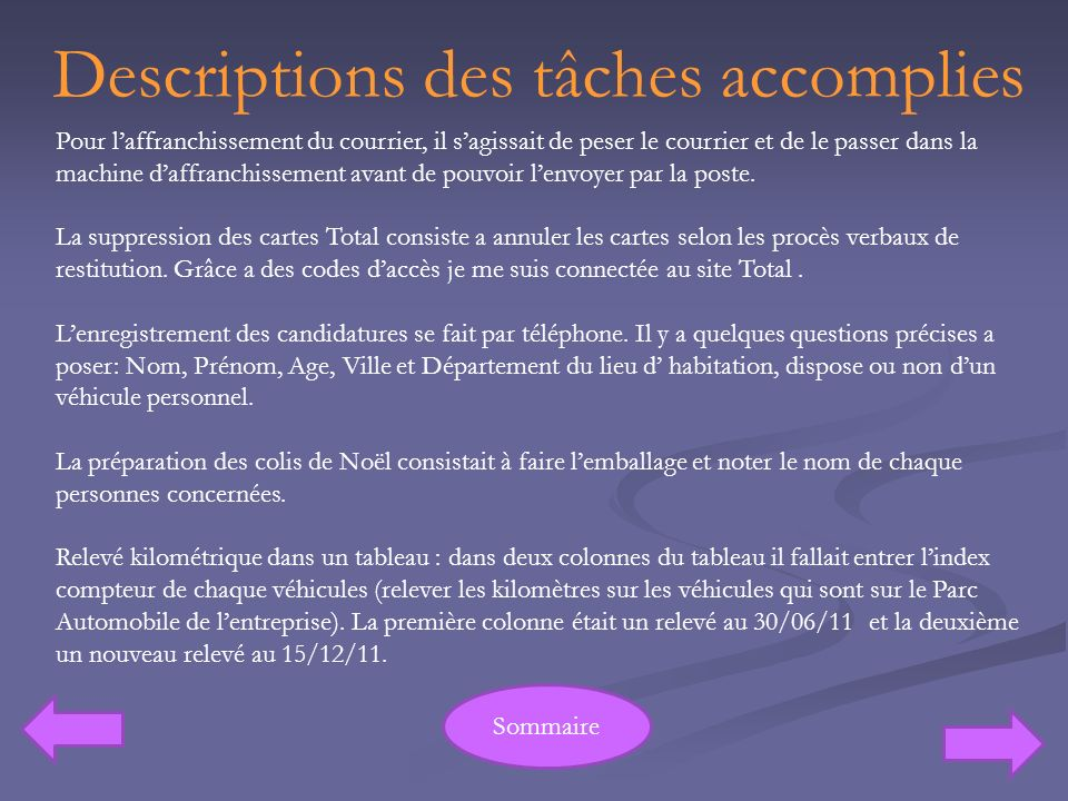 Descriptions des tâches accomplies
