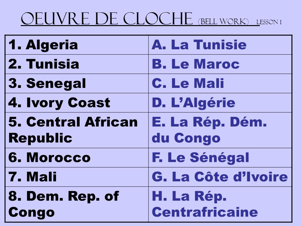 Oeuvre de Cloche (Bell work) Lesson 1