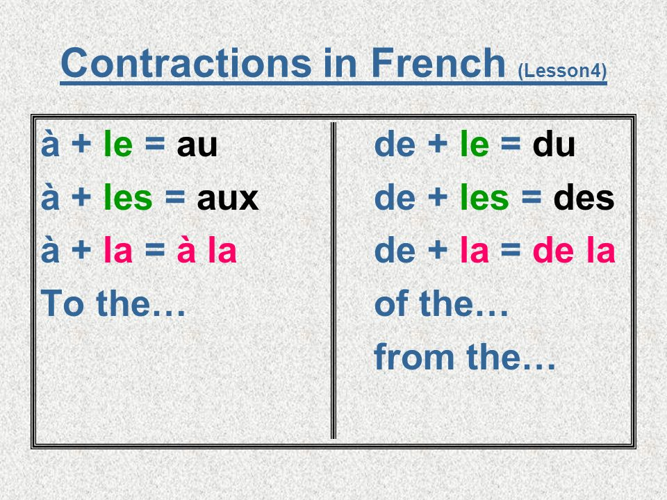 Contractions in French (Lesson4)