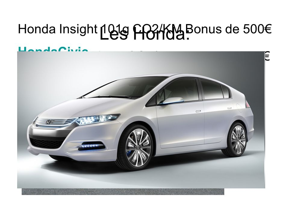 Les Honda: Honda Insight 101g CO2/KM Bonus de 500€ HondaCivic