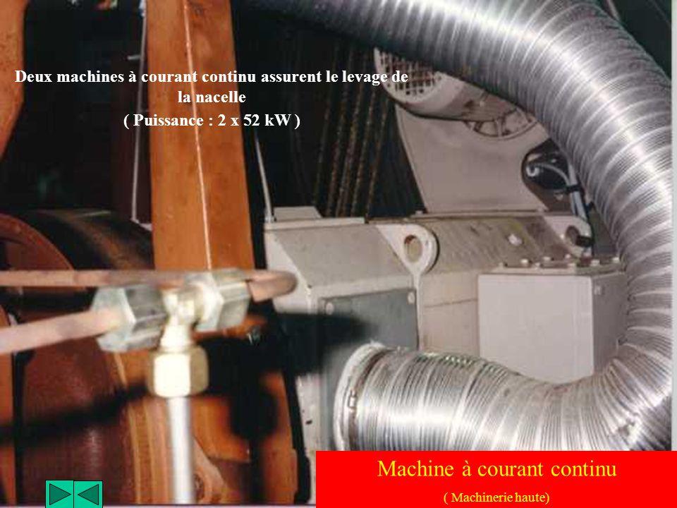 Deux machines à courant continu assurent le levage de la nacelle