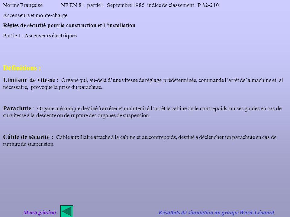 Norme Française NF EN 81 partie1 Septembre 1986 indice de classement : P 82-210