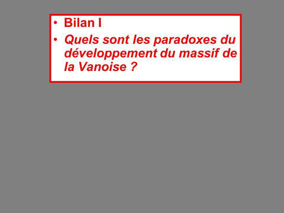 Bilan I Quels sont les paradoxes du développement du massif de la Vanoise
