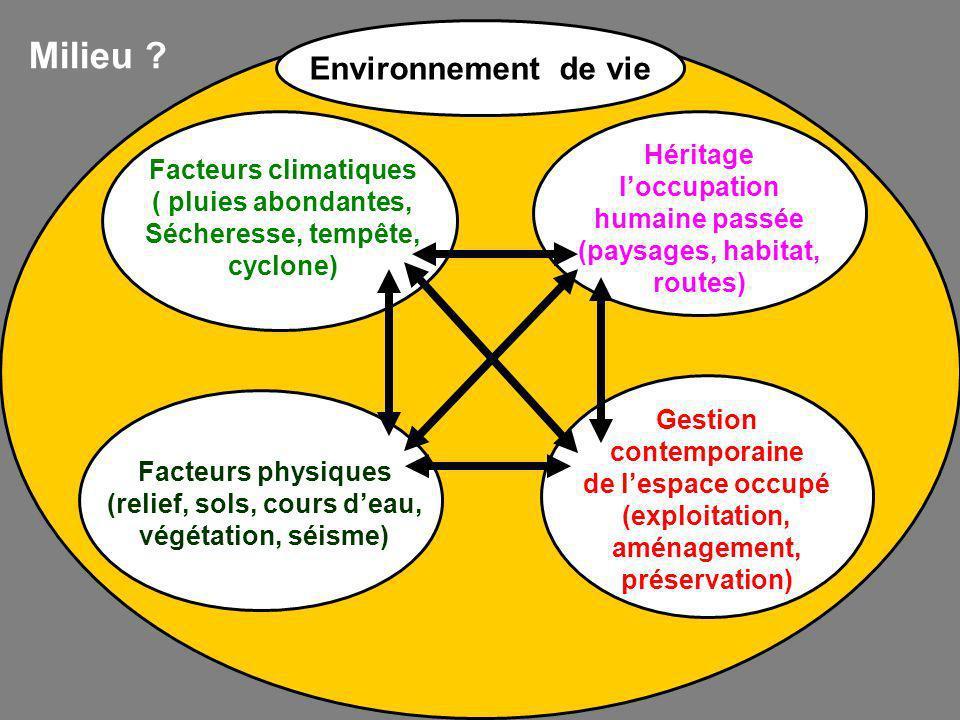 Milieu Environnement de vie Héritage l'occupation
