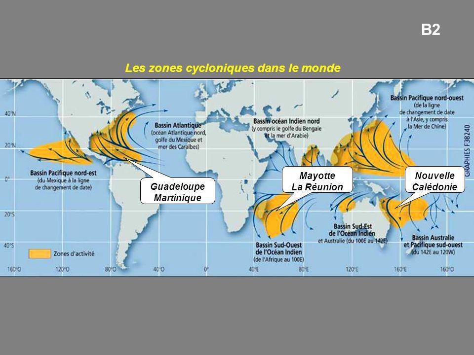Les zones cycloniques dans le monde Guadeloupe Martinique