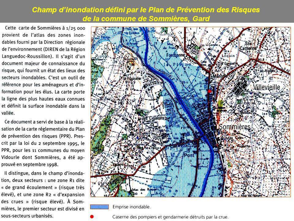 Champ d'inondation défini par le Plan de Prévention des Risques de la commune de Sommières, Gard