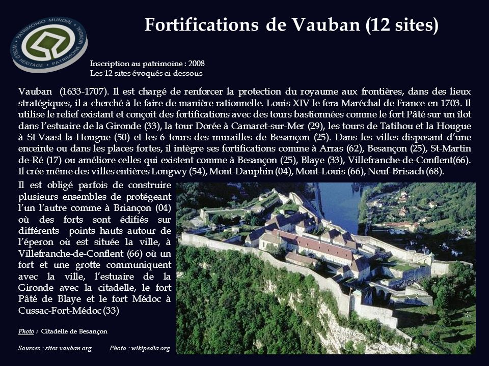 Fortifications de Vauban (12 sites)