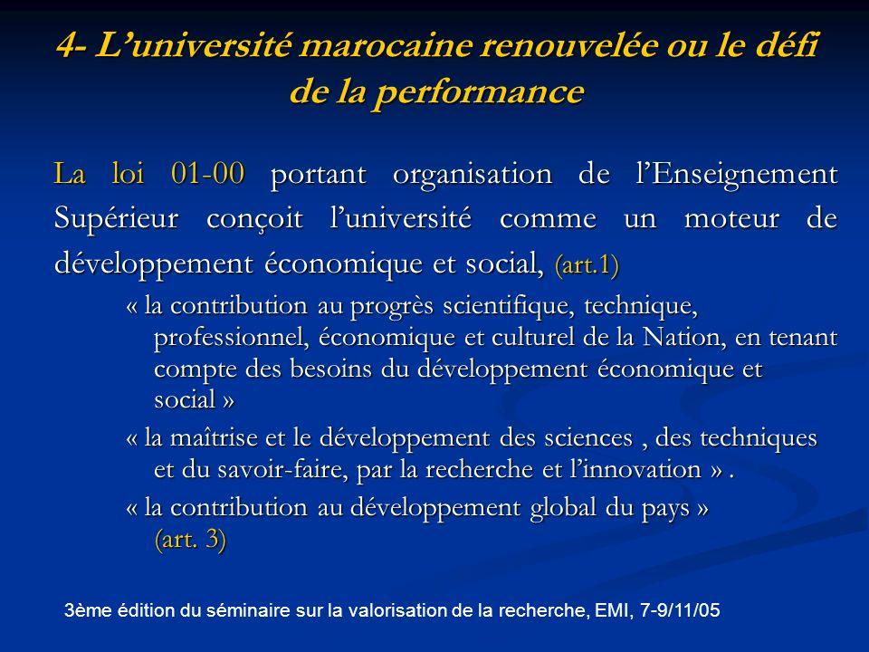 4- L'université marocaine renouvelée ou le défi de la performance