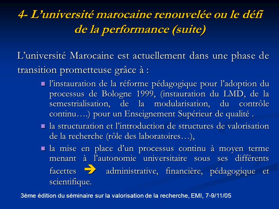 4- L'université marocaine renouvelée ou le défi de la performance (suite)
