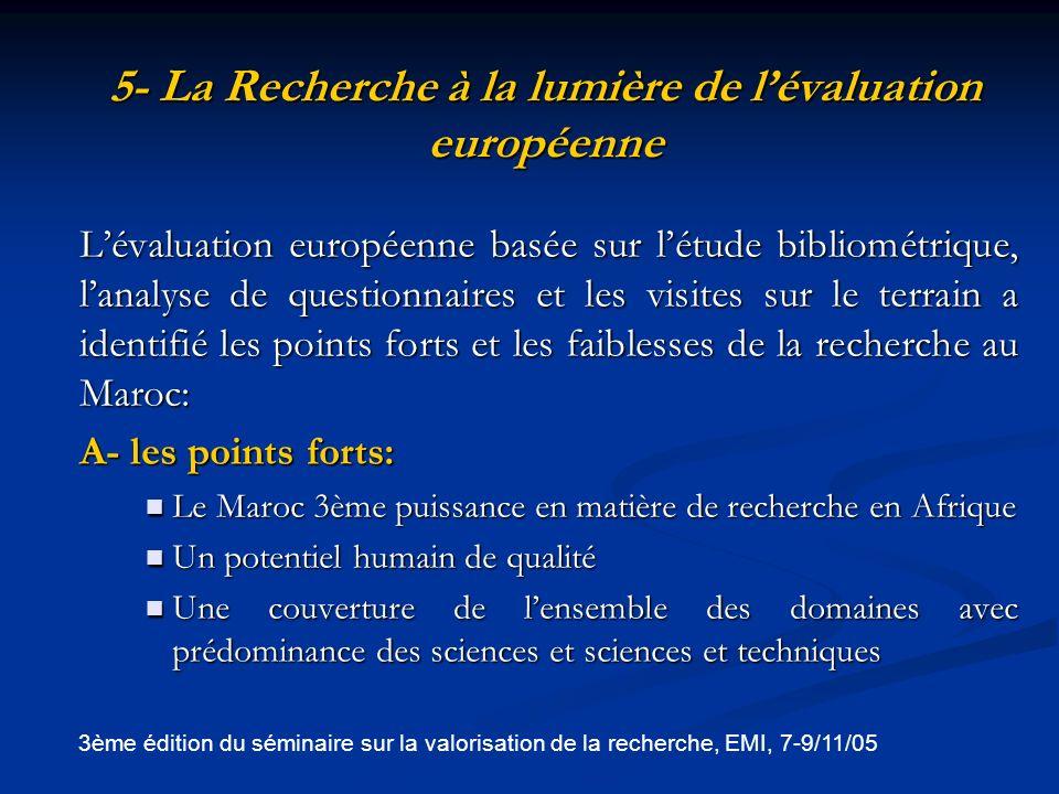 5- La Recherche à la lumière de l'évaluation européenne