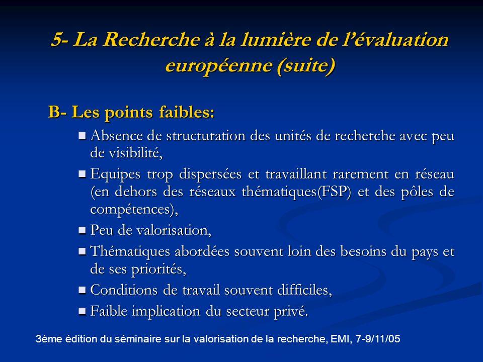 5- La Recherche à la lumière de l'évaluation européenne (suite)