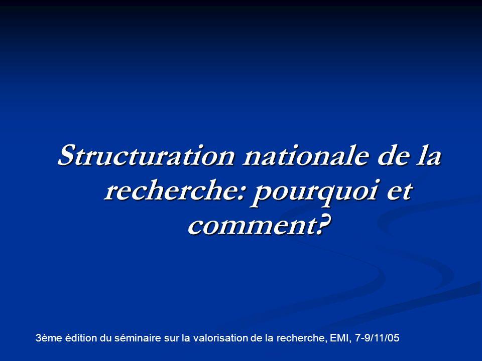 Structuration nationale de la recherche: pourquoi et comment