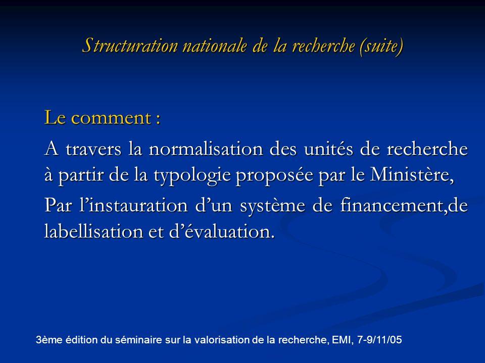 Structuration nationale de la recherche (suite)